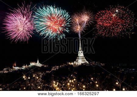 Firework for celebration at Phra Nakhon Khiri (Khao Wang) Petchaburi Province of Thailand.