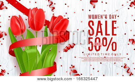 Web banner for Women's Day sale. Top view on composition with red flowers and satin ribbon. Vector illustration with serpentine and confetti on wooden texture.
