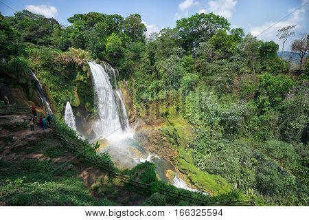 May 15, 2016 San Buenaventura, Honduras: Pulhapanzak waterfall in Honduras is a popular tourism destination