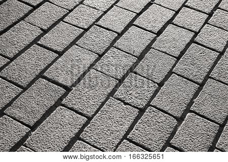 Gray cobble road detaild background photo texture