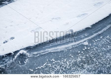 Ice Covered With Show, Frozen River