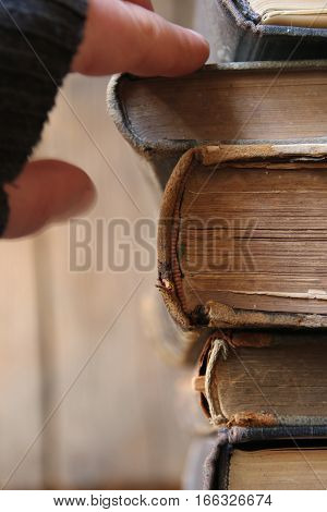 Student idea. Row of leather vintage books on shelf