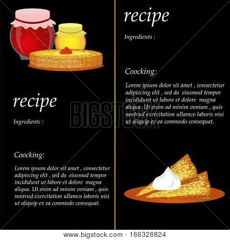 Recipe . Cooking pancakes. Template for recipe vector illustration