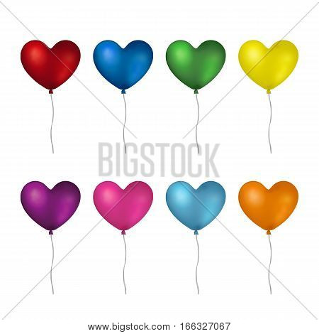Colorful realistic heart shaped helium balloons isolated on white background.