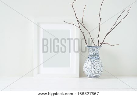 Minimal elegant composition with tangerine and vase