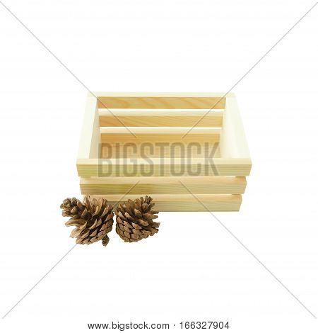 Empty wood box and pine cones isolated on white background with clipping path