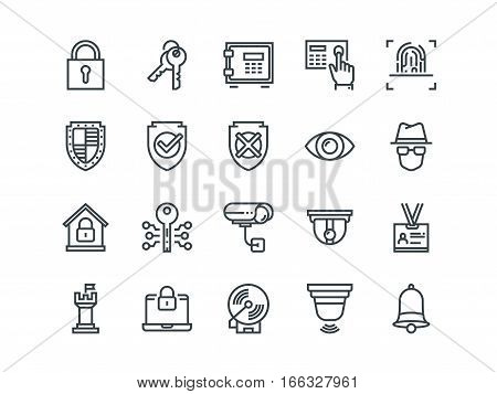 Security. Set of outline vector icons on a white background