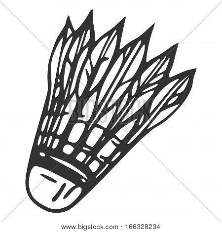 Badminton line icon on white, sketch style