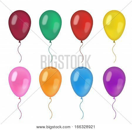 Realistic balloons set. 3d balloon different colors, isolated on white background. Vector illustration, clip art