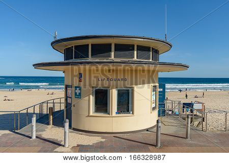 BONDI AUSTRALIA - OCTOBER 14 2016: The iconic Bondi Beach lifeguard station on a spring day.