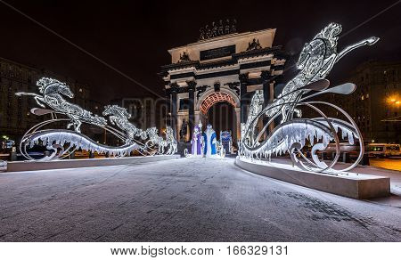 Moscow Russia - January 04 2017: new year and Christmas lighting decoration of the triumphal arch.