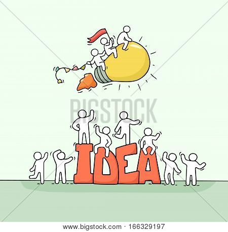 Sketch of working little people with flying lamp and big word Idea. Doodle cute miniature scene of creative workers. Hand drawn cartoon vector illustration for business design.