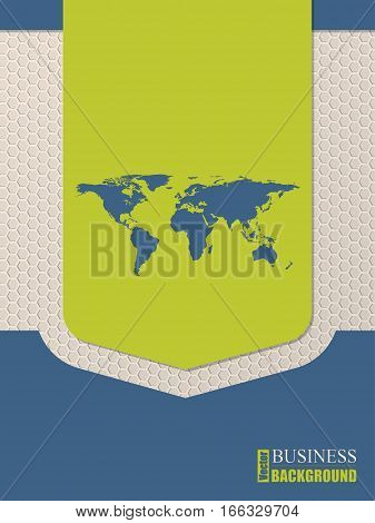 Flat style world map brochure design with hexagon background