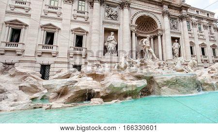 Panoramic view of the Trevi Fountain (Fontana di Trevi) Rome Italy.