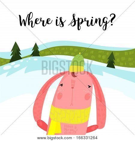 Hello Spring Greeting Card. Hand Drawn Illustration With Cartoon Rabbit.bright Easter Concept Card W