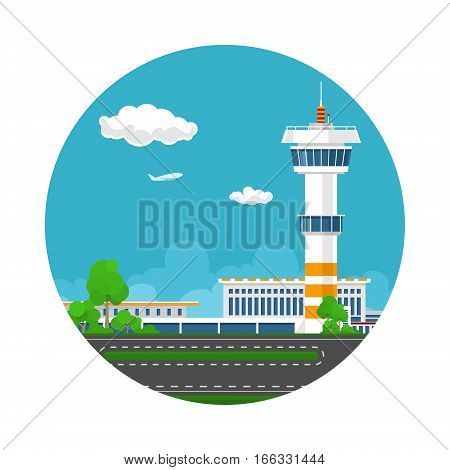 Icon Airport Terminal, Runway at the Airport with Control Tower , Travel and Tourism Concept , Vector Illustration