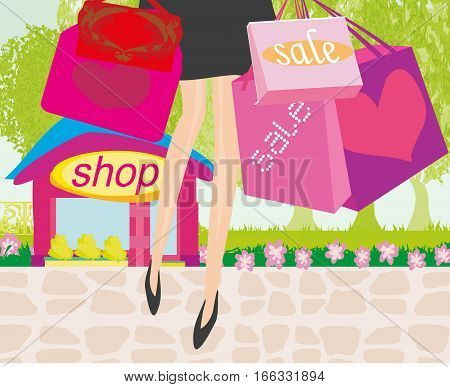 Shopping girl sale card close-up of legs , vector illustration