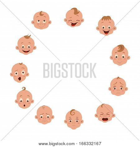 Baby facial expression isolated icons on white background. Cute color vector illustration of little boy showing different emotions smiling, sad, surprised, crying, shy, laugh happy in flat style.