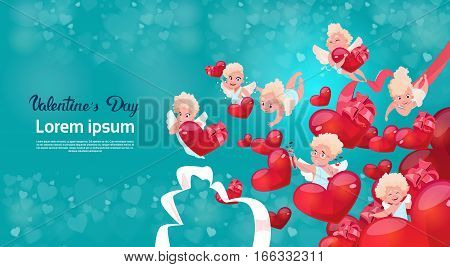 Valentine Day Gift Card Holiday Amour Love Cupid Heart Shape Flat Vector Illustration