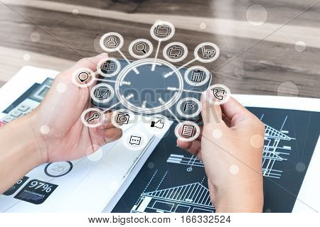 Business Technology Concept,business People Hands Use Smart Phone Connection