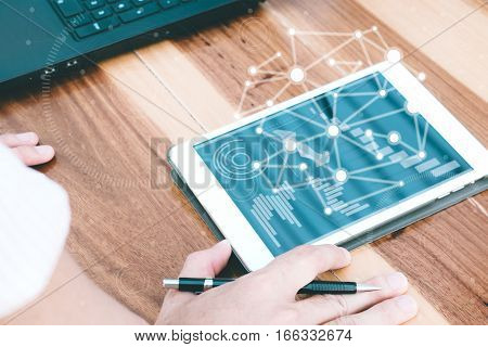 Business Technology Concept,business People Hands Use Tablet Connection