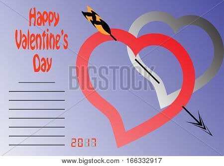 Happy Valentine's Day. Hearts and place for text. Vector illustration .