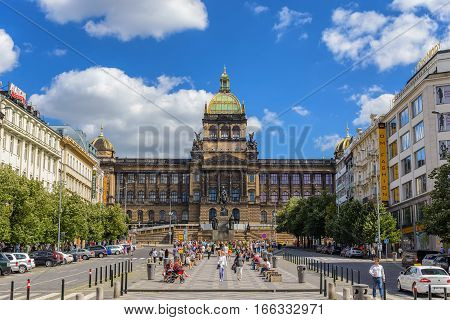 PRAGUE CZECH REPUBLIC: JUNE 282015: Toruist at Wenceslas Square of Prague, Czech Republic