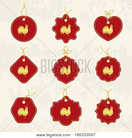 Decorative Rooster. Chinese New Year Symbol of 2017 New Year. Set of tags. Good for greeting card invitation or banner. Vector illustration