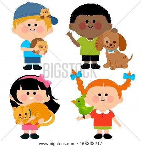 Vector illustration of children holding their pets: a cat, dog, a hamster and a bird