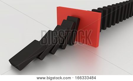 Falling Domino Row With Red Stop Piece On The Desk 3d render