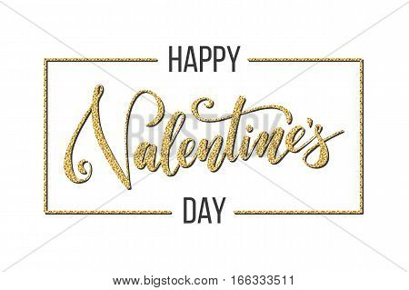 Gold Valentine's day lettering for greeting card. Happy Valentines day caption