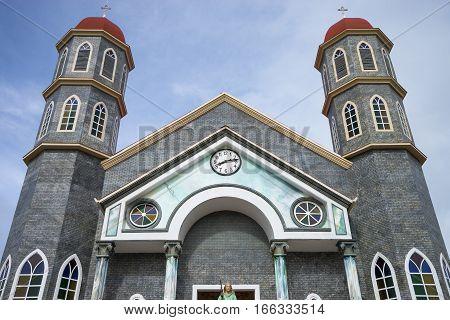 rural town church facade in Costa Rica