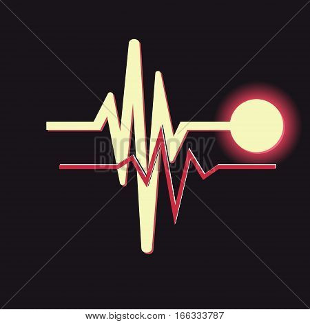 Heartbeat icon on black background. Vector illustration