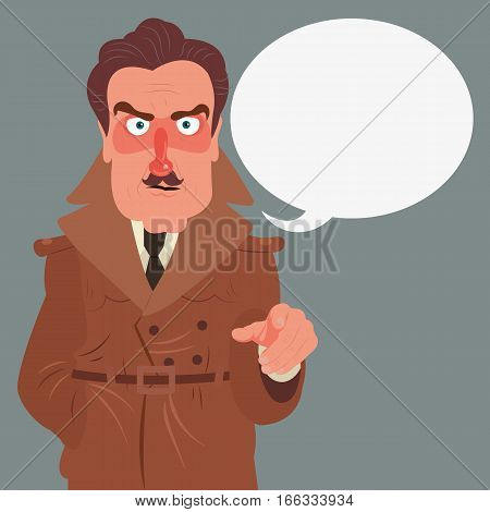 Detective character design, cartoon flat style, vector color illustration, detective indicates something.