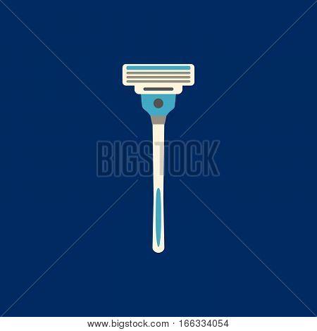Shaver Flat Icon On Blue Background. Vector Illustration.