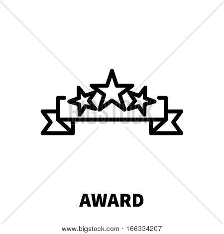 Award icon or logo in modern line style. High quality black outline pictogram for web site design and mobile apps. Vector illustration on a white background.