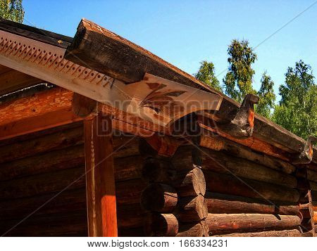 Roof, house in Siberian village. Ethnographic Open-Air Museum