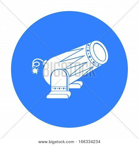 Circus cannon icon in blue  style isolated on white background. Circus symbol vector illustration.