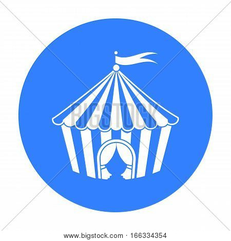 Circus tent icon in blue style isolated on white background. Circus symbol vector illustration.