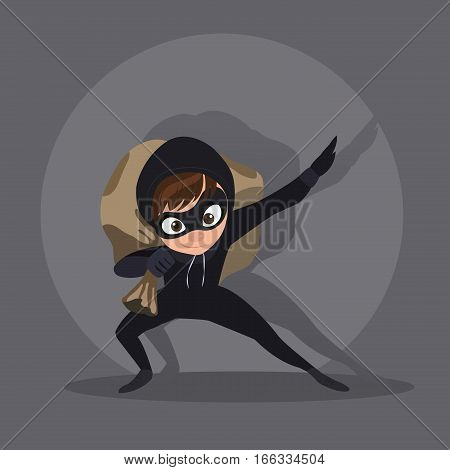 Thief with bag of money, in dark suit, stole, robber runs, on white background, in black mask, criminal in flat style.