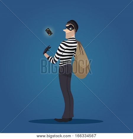 Robber with a stolen credit card and bag of stolen goods. Thief in action, cartoon character, flat style, vector illustration