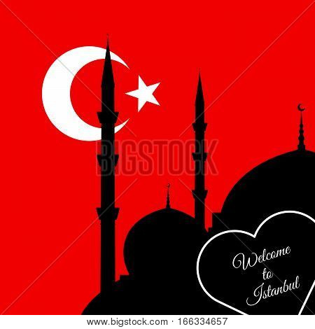 Istanbul Mosque Silhouette Illustration On Red Background