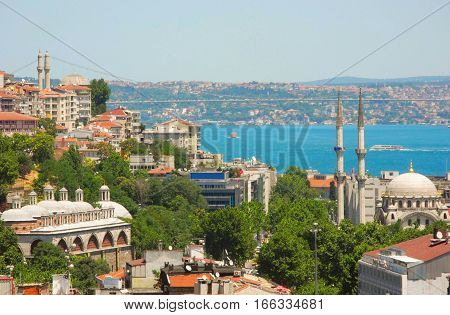The view of the Bosphorus bridge from Galata Tower.