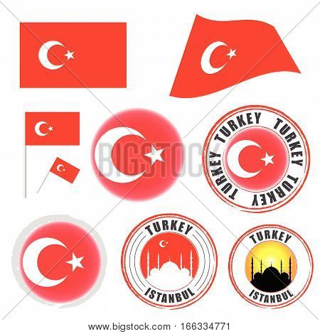 Turkey Flag Set Color Illustration On White Background