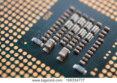 closeup macro micro processor transistor cpu flipped