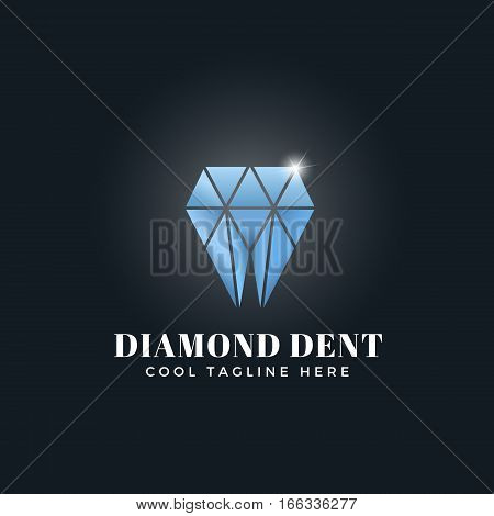 Diamond Dent Abstract Concept. Vector Emblem, Sign or Logo Template. Tooth Shaped Shiny Brilliant Symbol. On Dark Background.