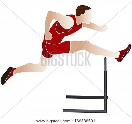 runner athlete running hurdles colored silhouette vector illustration