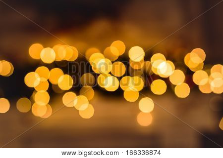 Festive abstract bokeh sparkle golden christmas background