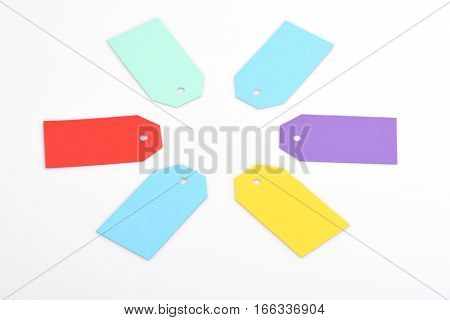 Colorful Paper Shopping Tag Isolated On White, Copy Space