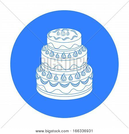Red three-ply cake icon in blue design stock vector illustration.